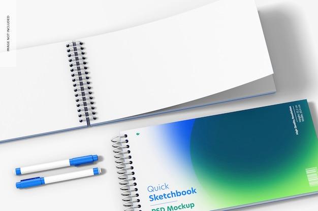 Modelo de bloco de desenho rápido, close-up