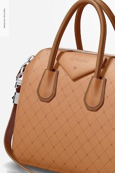 Modelo de bolsa de couro feminino, close-up