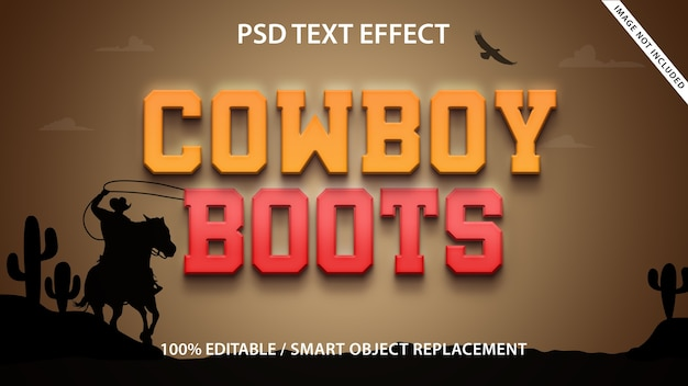 Modelo de botas de cowboy com efeito de texto