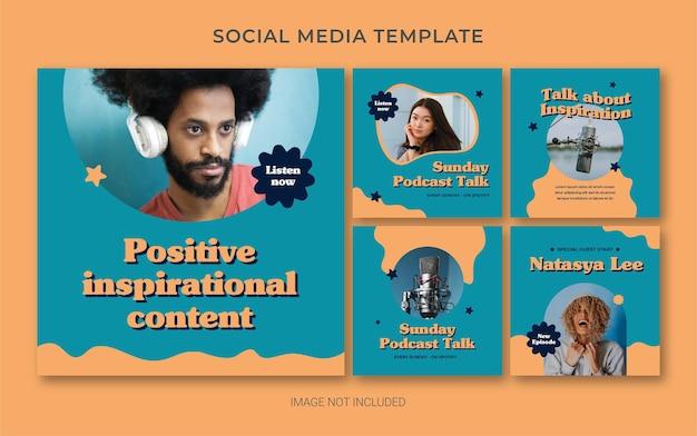 Modelo de branding de mídia social do instagram para podcast com estilo retro Psd Premium