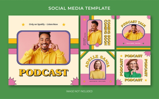 Modelo de branding de mídia social do instagram para podcast com estilo retro