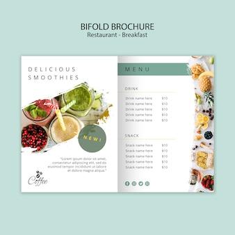 Modelo de brochura - café da manhã restaurante bifold