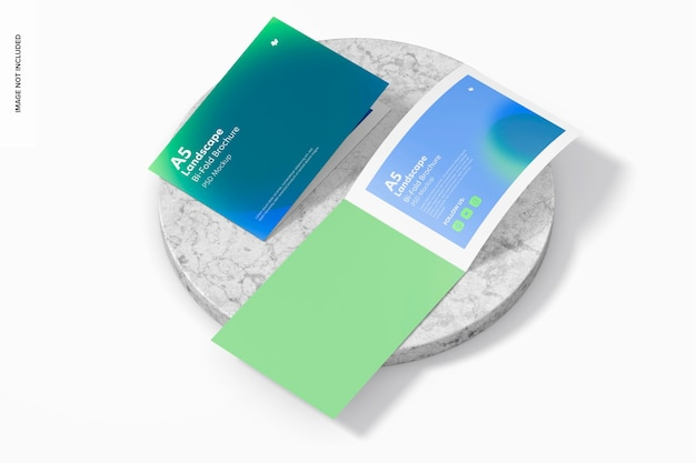 Modelo de brochura dupla com paisagem a5, perspectiva
