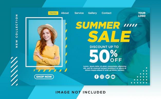 Modelo de cabeça de página de aterragem de venda de verão