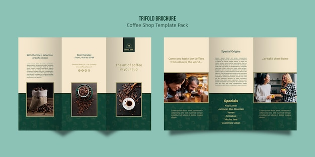 Modelo de café com três dobras brochura