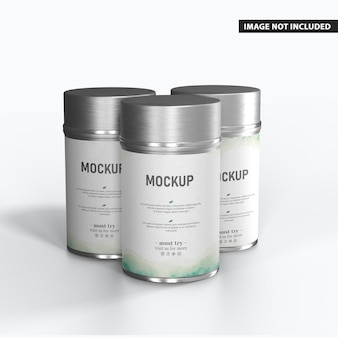 Modelo de caixa de lata redonda brilhante