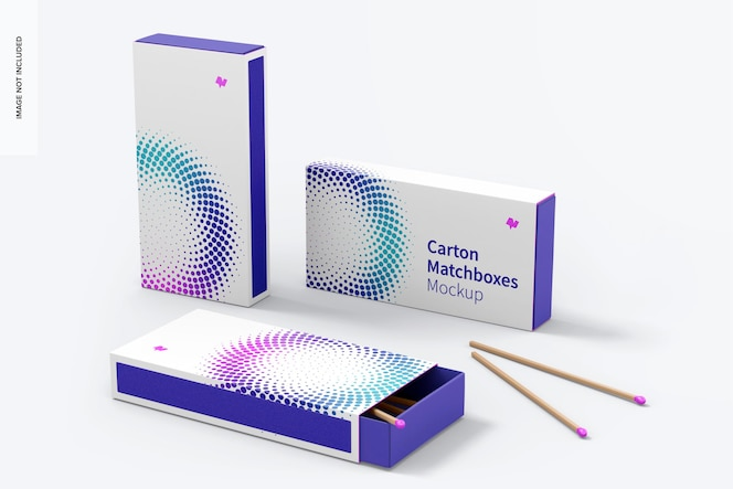 Modelo de caixas de fósforos de caixa, conjunto de múltiplas visualizações