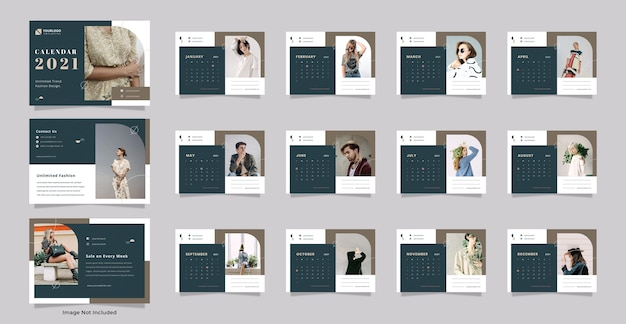 Modelo de calendário de mesa da moda