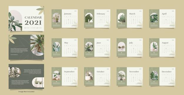 Modelo de calendário de mesa da planta