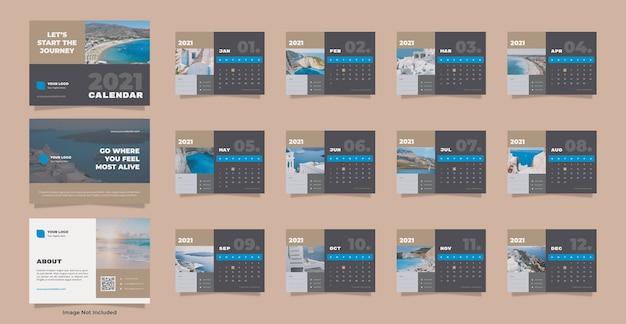 Modelo de calendário de mesa de viagens