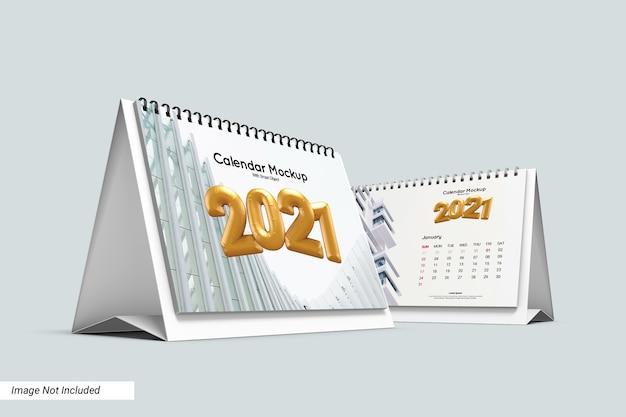 Modelo de calendário de mesa em paisagem isolada