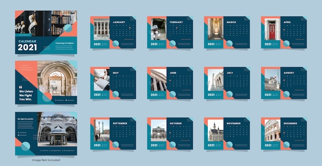 Modelo de calendário de mesa para escritório de advocacia