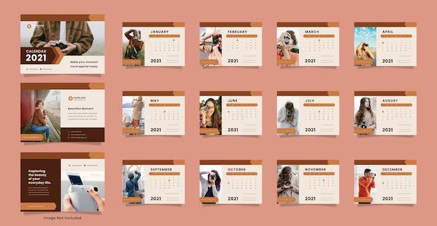 Modelo de calendário de mesa para fotografia