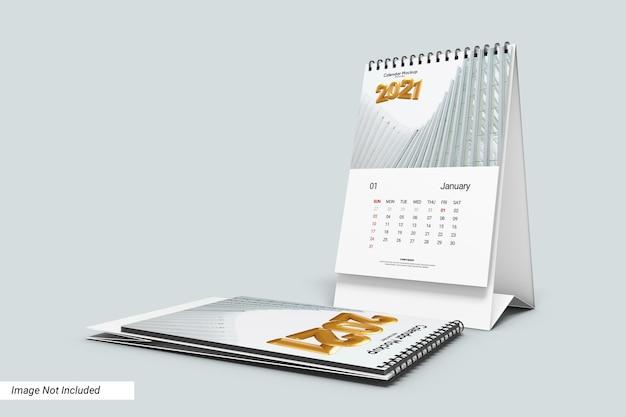 Modelo de calendário de mesa retrato isolado