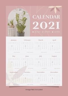 Modelo de calendário de parede de planta