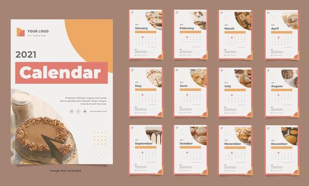 Modelo de calendário de parede para alimentos