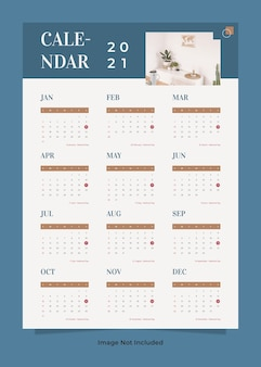 Modelo de calendário de parede para móveis minimalistas