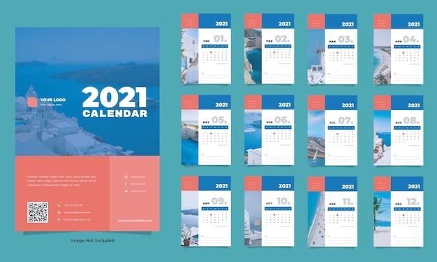 Modelo de calendário de parede para viagens