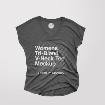Modelo de camiseta feminina triblend vneck