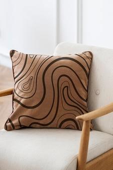 Modelo de capa de almofada de veludo vintage psd em conceito de vida de padrão abstrato