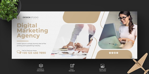Modelo de capa de facebook de marketing de negócios digitais