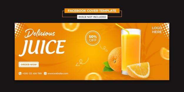 Modelo de capa de mídia social de suco delicioso e facebook