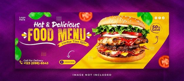 Modelo de capa de mídia social para hambúrguer delicioso e cardápio de comida