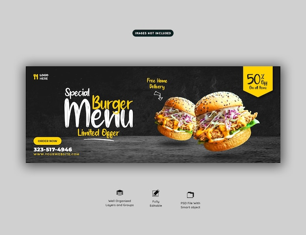 Modelo de capa de mídia social para hambúrguer delicioso e menu de comida