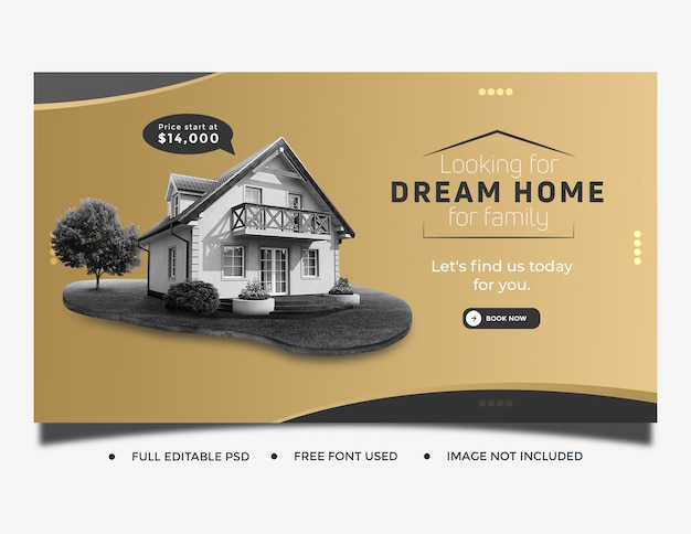 Modelo de capa de postagem de mídia social imobiliária