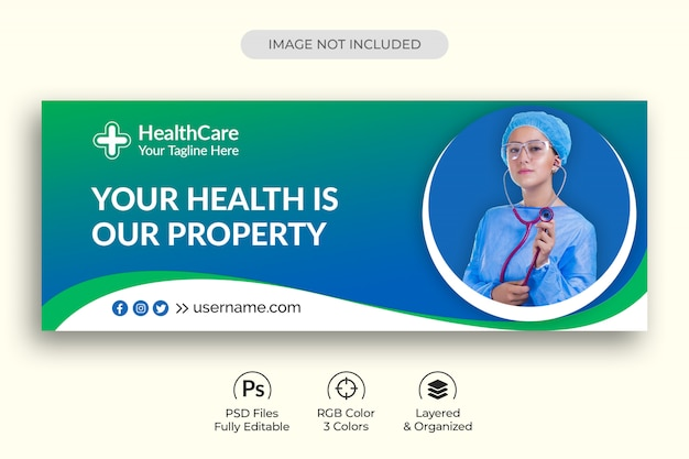 Modelo de capa do facebook de mídia social médica de cuidados de saúde