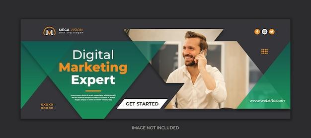 Modelo de capa do facebook de negócios digitais e corporativos