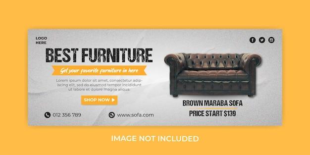 Modelo de capa do facebook de venda de móveis de sofá