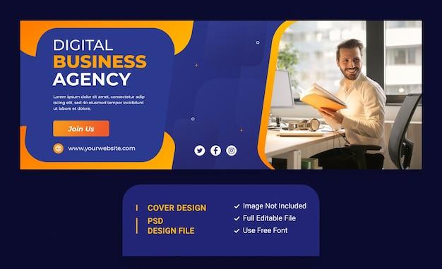 Modelo de capa do facebook para promoção de marketing de agência de negócios digitais