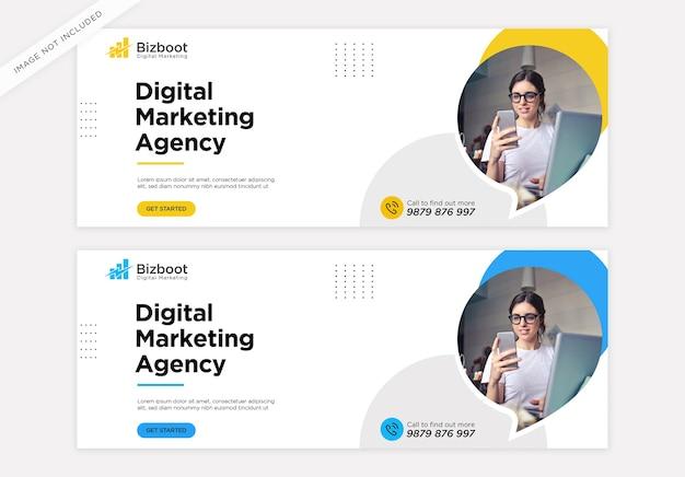 Modelo de capa do facebook para promoção de marketing de negócios digitais
