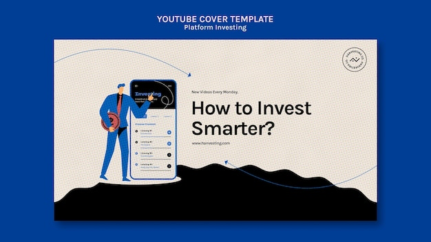 Modelo de capa do youtube de investimento em plataforma Psd grátis