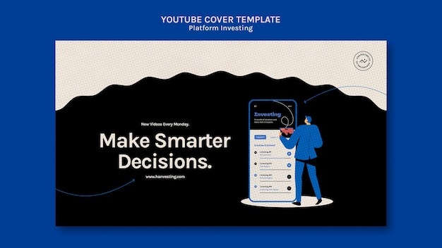 Modelo de capa do youtube de investimento em plataforma