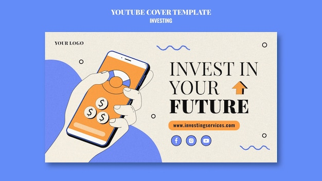 Modelo de capa do youtube de investimento ilustrado