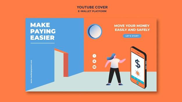 Modelo de capa do youtube para aplicativo de carteira eletrônica