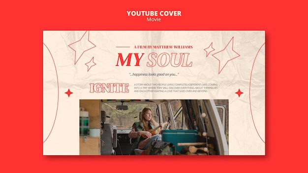 Modelo de capa do youtube para entretenimento de filmes
