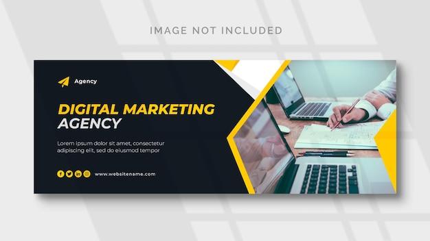 Modelo de capa e banner da web de marketing digital