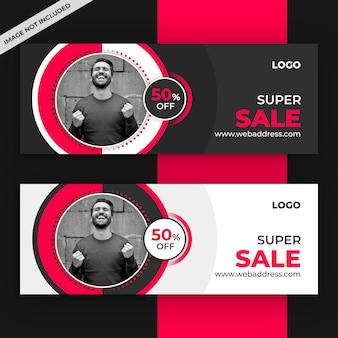 Modelo de capa promocional do facebook de venda