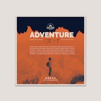 Modelo de capa quadrada com conceito de aventura