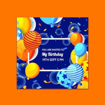 Modelo de cartão de aniversário lindo