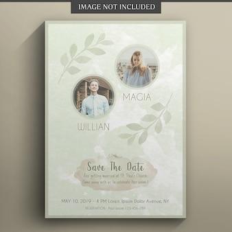 Modelo de cartão de casamento e convite floral
