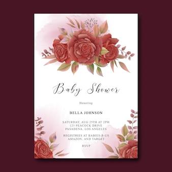 Modelo de cartão de chá de bebê com decorações florais em aquarela