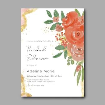 Modelo de cartão de chá de panela com flores em aquarela