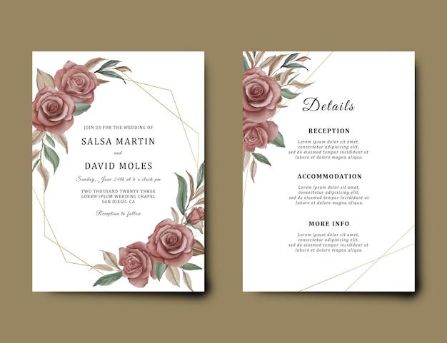 Modelo de cartão de convite de casamento com decoração de buquê de flores em aquarela