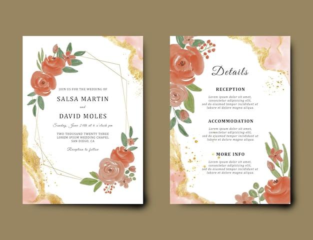 Modelo de cartão de convite de casamento com decoração de flores em aquarela e pincel de ouro