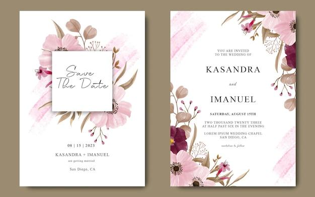 Modelo de cartão de convite de casamento com decoração de flores em aquarela rosa