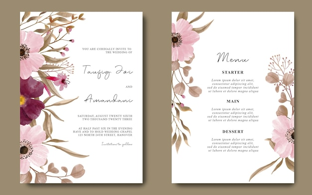 Modelo de cartão de convite de casamento com decoração de flores em aquarela